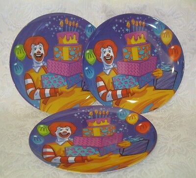 "Set of 3 ~ 2003 McDonald's Collectible 9.25"" Plastic Plates ~ Birthday Cake!"