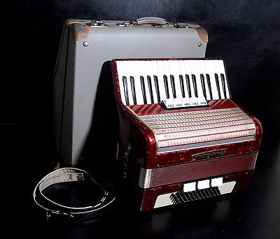 VINTAGE GERMAN TOP PIANO ACCORDION WELTMEISTER 60 bass,8 registers+ORIGINAL CASE