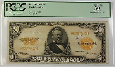 1922 $50 Large Size Note Gold Certificate Fr. 1200 PCGS Very Fine 30 Apparent WW
