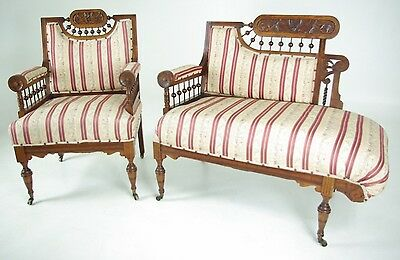 JR-03 Victorian Walnut 2 Piece Stick and Ball Parlour Settee and Chair