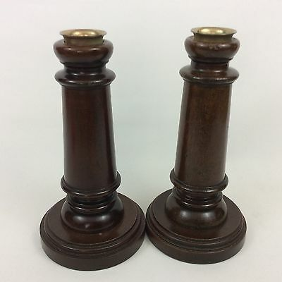 Pair of Vintage Solid Wood Candlesticks with Brass Inserts
