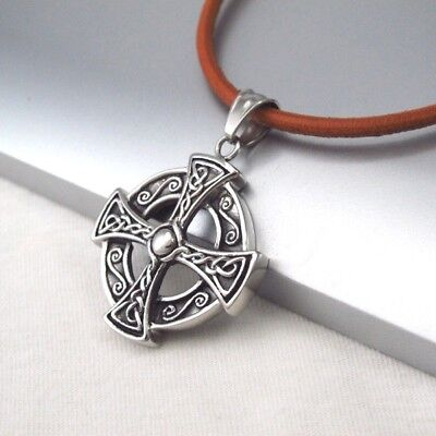 Silver Black Celtic Knot Cross Stainless Steel Pendant Brown Leather Necklace