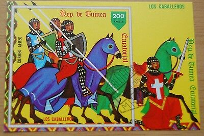 Knights On Horses Equatorial Guinea 1978 Stamp Sheet MNH #