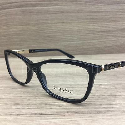 Versace Mod 3186 Eyeglasses Black Gold GB1 Authentic 54mm