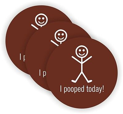 (3) I Pooped Today Hard Hat Stickers / Motorcycle Helmet Decals / Funny Labels