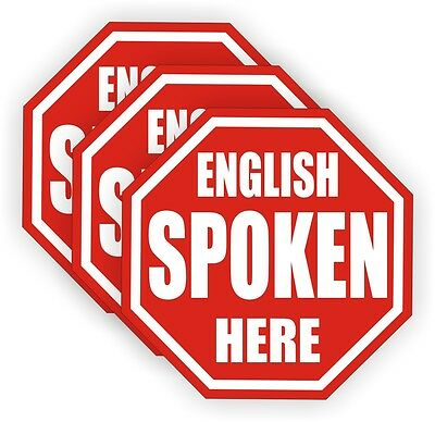 3 English Spoken Here Hard Hat Decals | Labels | Stickers Construction Laborer