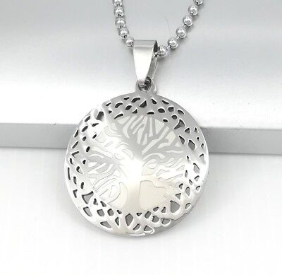 Silver Chrome Round Tree Of Life Symbol Pendant Mens Necklace 61CM Ball Chain