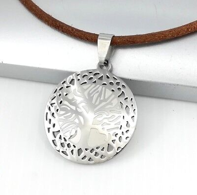 Silver Chrome Round Tree Of Life Symbol Pendant 3mm Brown Leather Retro Necklace