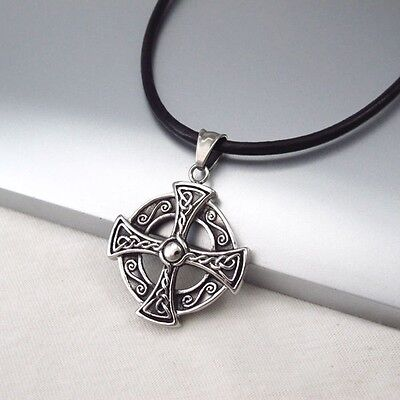 Silver Black Celtic Knot Cross Stainless Steel Pendant Black Leather Necklace