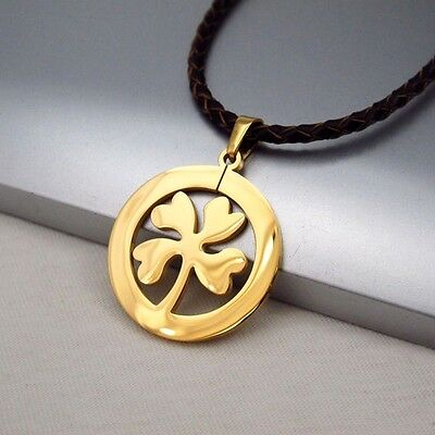 Gold Clover Celtic Lucky Charms Pendant Braided Brown Leather Floral Necklace