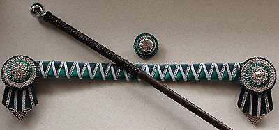 Teal Green Satin Browband, Lapel Pin & Chocolate Brown Show Cane Set - NEW