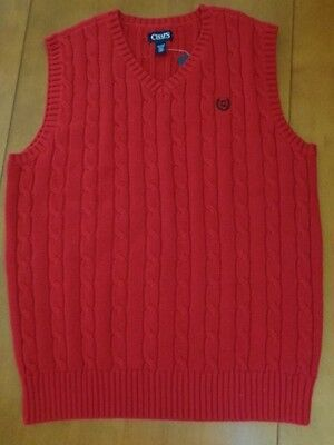 Boys' Chaps Red V-Neck Cable Knit Cotton Sweater Vest~X-Large 18-20