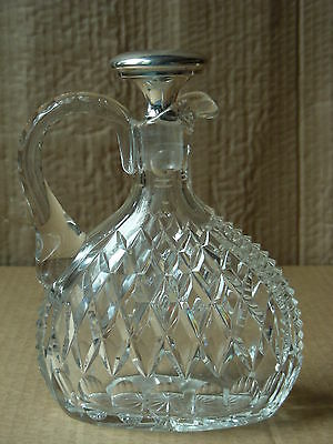 Vintage Cut Glass Decanter With Sterling Silver Stopper