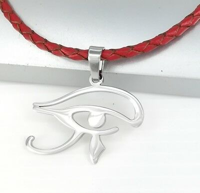 Silver Chrome Egyptian Eye Symbol Pendant Braided Red Leather Ethnic Necklace