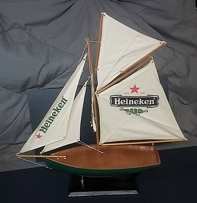 New Heineken Beer Bar Bottle Display Sailboat Advertisement Man Cave Sail Boat