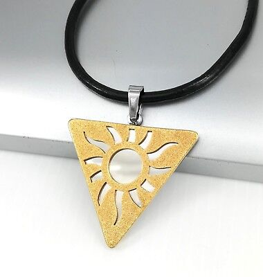 Silver Chrome Gold Egyptian Sun Symbol Pendant Black Leather Ethnic Necklace NEW