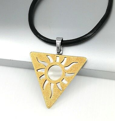 Silver Gold Egyptian Pyramid Sun Stainless Steel Pendant Black Leather Necklace