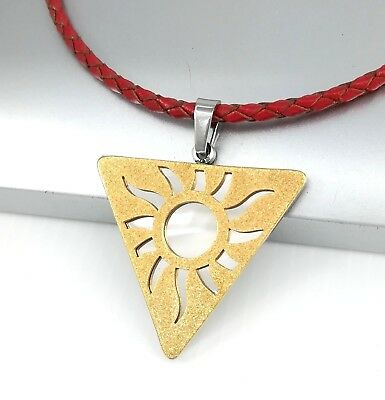 Silver Gold Tiangle Pyramid Stainless Steel Pendant Red Braided Leather Necklace