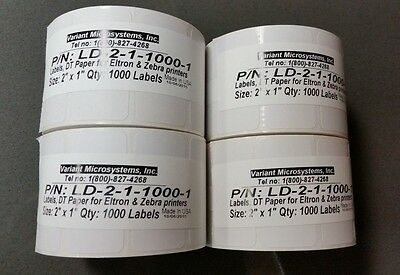 "Direct Thermal 2""x1"" Paper Barcode Labels for Zebra 2824/2844/GK/GX, 4 Rolls Lot"