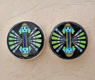 Seductive Kachina Turquoise Spiny Gaspiete Yie Inlay .925 Silver Stud Earrings