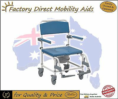 Aston Shower Commode on wheels and Over Toilet Aid Bariatric Wide Free Freight!