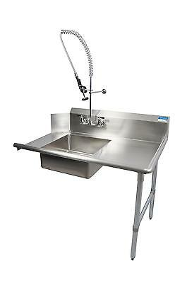 "BK Resources 60"" Soiled Straight Dishtable Right Side w/ Pre-Rinse Faucet"