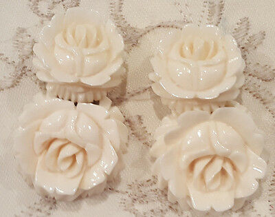 Vintage White Cream Celluloid Carved Flower Double Rose Clip Earring Articulated