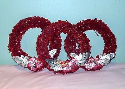 3 Vintage Red Cellophane Christmas Windows Wreaths Foil Poinsettia 7""
