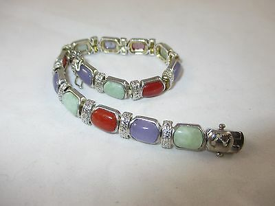 Chinese Silver Bracelet with Cabochon Jade Stones Multi-Colored