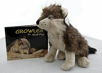 Growler the Wolf Pup Signed Children's Book & Cuddlekins Wolf Plush Animal NWT