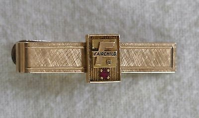 Vintage Fairchild 5 Gold Tie Bar Clip Clasp Employee with Red Stone
