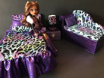 Monster High Furniture Bedroom Set Clawdeen Bed Sofa Lamp Wood Box