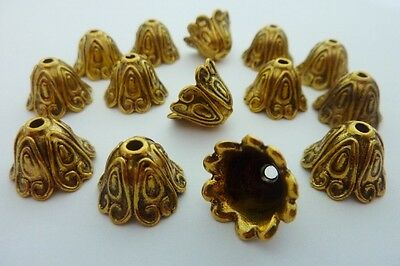 14 pce Antique Gold Bell Flower Bead Caps 15mm x 11mm Jewellery Making Craft
