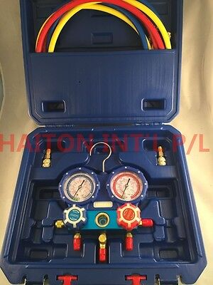 "2 VALVE AL manifold with 60"" 800psi hoses & 80mm gauges For R410A WK-P6002S"