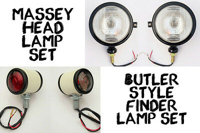 4x MASSEY FERGUSON David Brown Ford Tractor 990 HEAD LAMP with bulb, BUTLER LAMP