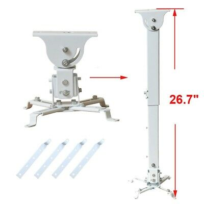 "Tilt Swivel DLP LCD Ceiling Projector Mount Bracket with 4x 5.5"" Adapters 1YG"