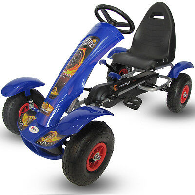 Kiddo 2017 Deluxe Design Blue Kids Childrens Pedal Go-Kart Ride-On Rubber Wheels