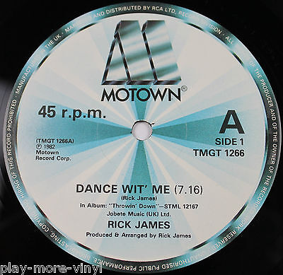 "RICK JAMES Dance Wit' Me 12"" vinyl UK 1982 Motown  plays NM!"