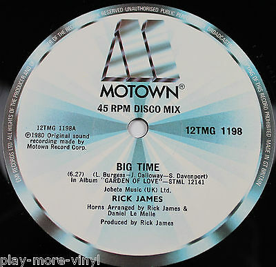 "RICK JAMES Big Time / Island Lady 12"" vinyl UK 1980 Motown  plays EX!"
