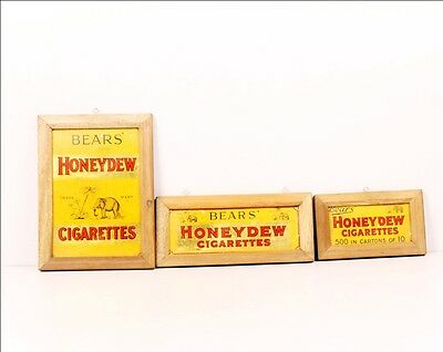 3 Pc Vintage Bear's Honeydew Cigarettes Ad Litho Tin Sign Boards 6758