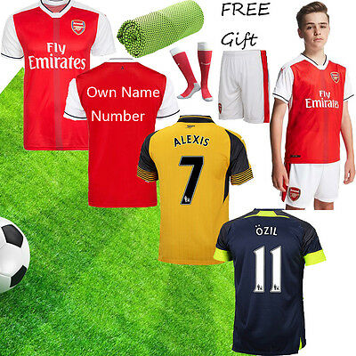 2017 Home Red Football Soccer Short Sleeve Kid Boys Jersey Youth 3-14Ys+socks