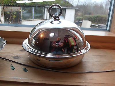 Vintage silver plated butter/muffin dish with insert and lid
