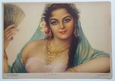 Indian Vintage Hindu Litho Print - Indian Beauty /size-10X14 Inch /1950