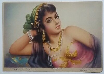 Indian Vintage Hindu  Litho Print - Indian Beauty-1 /size-10X14 Inch /1950