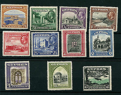 Cyprus SG133-143 1934 Set of 11 Definitives Mounted Mint (note foxing on 9pi)
