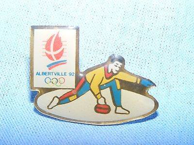 Olympic Games Badge Winter Olympics 1992 Albertville Curling Pin Button Enamel