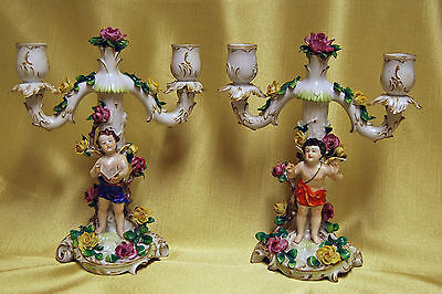 Rare Antique Pair of VOLKSTEDT German Porcelain Cherub Candelabra Candle Sticks