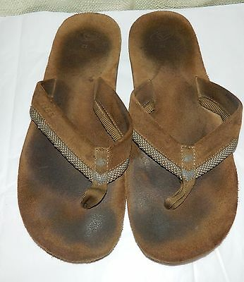 MENS REEF Brown SUEDE LEATHER FLIP FLOPS SANDALS SIZE 12 Used