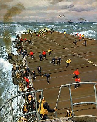 Reproduction Oil Painting 'clear The Flight Deck' Aircraft Carrier Hms Pursuer