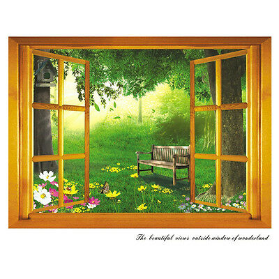 Removable 3D Window Scenery Wall Sticker home Decals Mural Decal Exotic View  CK